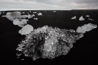 Islande - Jokulsarlon : Paysage, Islande, Jokulsarlon, Lagune glaciaire, Plage, Sable noir