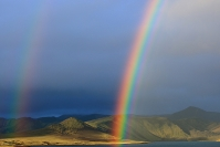 Islande - Landmannalaugar : Paysage, Islande, Landmannalaugar, Volcan, Arc-en-ciel